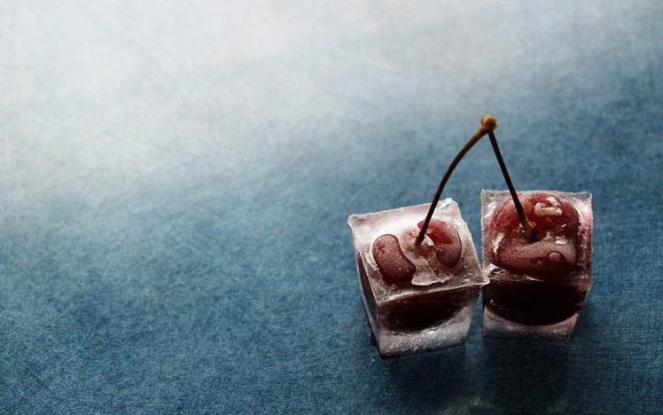 cherries, Ice cubes HD Wallpaper Desktop Background