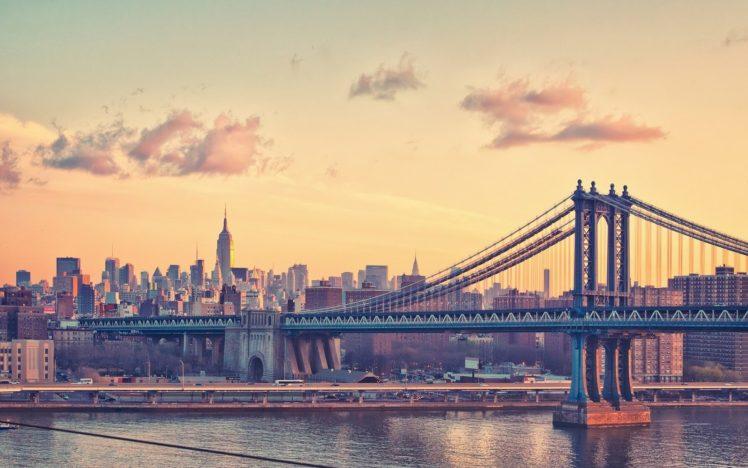 City Water Bridge Manhattan Bridge New York City Hd