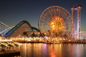ferris wheel, Theme parks, Water, Lights, Palm trees
