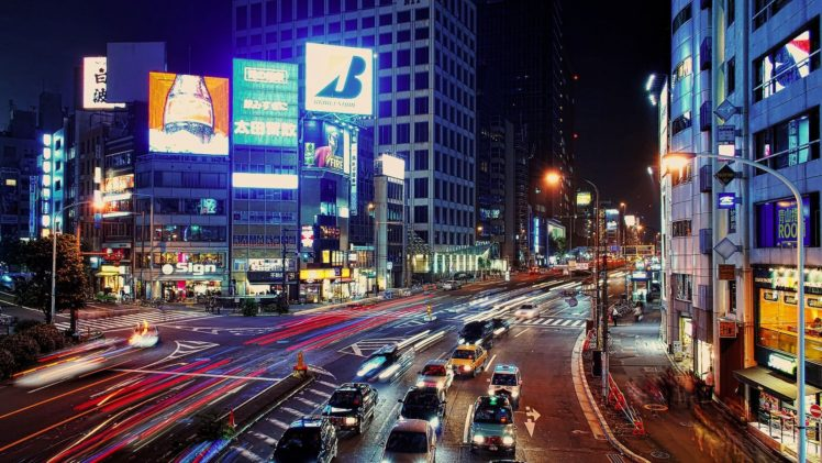 long exposure, City, Road, Night, Intersections HD Wallpaper Desktop Background