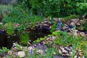 zen, Buddha, Green, Oil painting