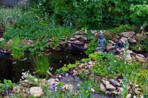 zen, Buddha, Green, Oil painting, Peaceful
