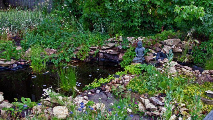 zen, Buddha, Green, Oil painting, Peaceful HD Wallpaper Desktop Background