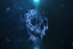 smoke, Skull, Bokeh, Blue background