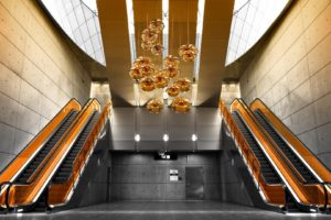 escalator, Interiors, Building, Modern, Orange, Architecture