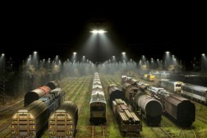 train, Railway, Night, Lights, Train station, Trees, Freight train, Diesel locomotives