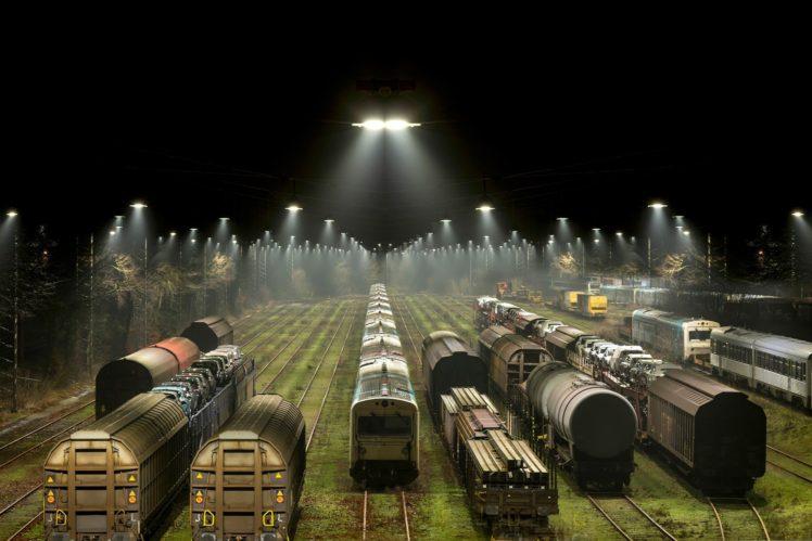 train, Railway, Night, Lights, Train station, Trees, Freight train, Diesel locomotives HD Wallpaper Desktop Background