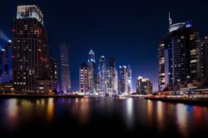 city, Cityscape, Night, Dubai, United Arab Emirates, Water, Architecture, Building, Modern, Lights, Reflection, Long exposure