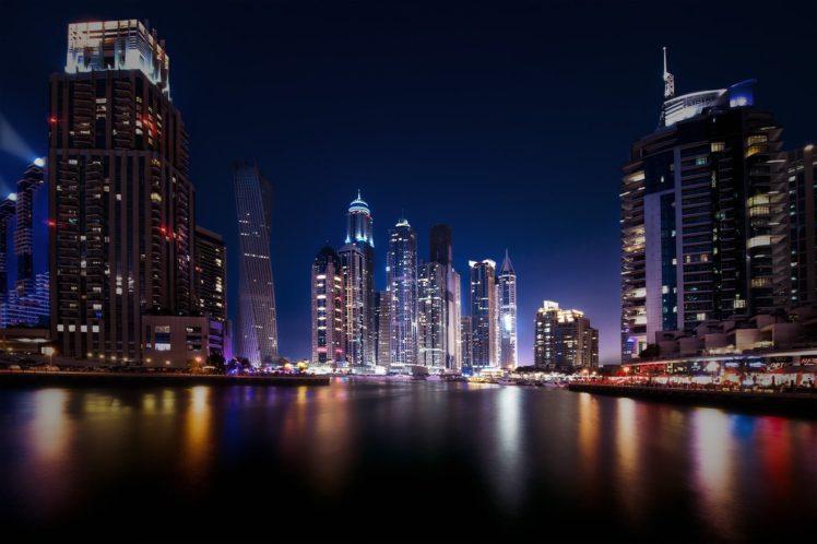 city, Cityscape, Night, Dubai, United Arab Emirates, Water, Architecture, Building, Modern, Lights, Reflection, Long exposure HD Wallpaper Desktop Background