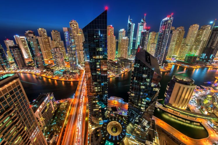 city, Cityscape, Night, Dubai, United Arab Emirates, Water, Architecture, Building, Modern, Lights, Reflection, Long exposure, Road, Aerial view HD Wallpaper Desktop Background