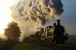 train, Railway, Steam locomotive, Smoke, Trees