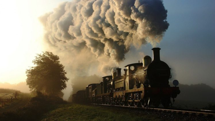train, Railway, Steam locomotive, Smoke, Trees HD Wallpaper Desktop Background