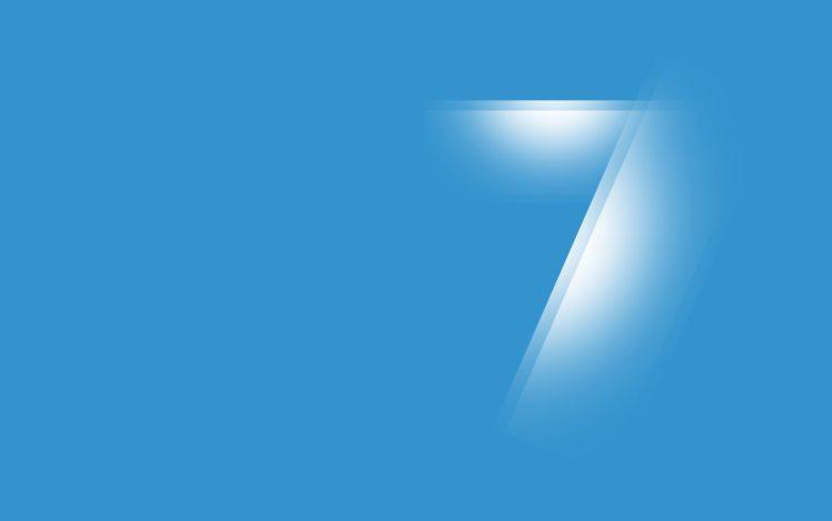 Windows 7, Microsoft Windows, Minimalism, Numbers, Blue background HD Wallpaper Desktop Background