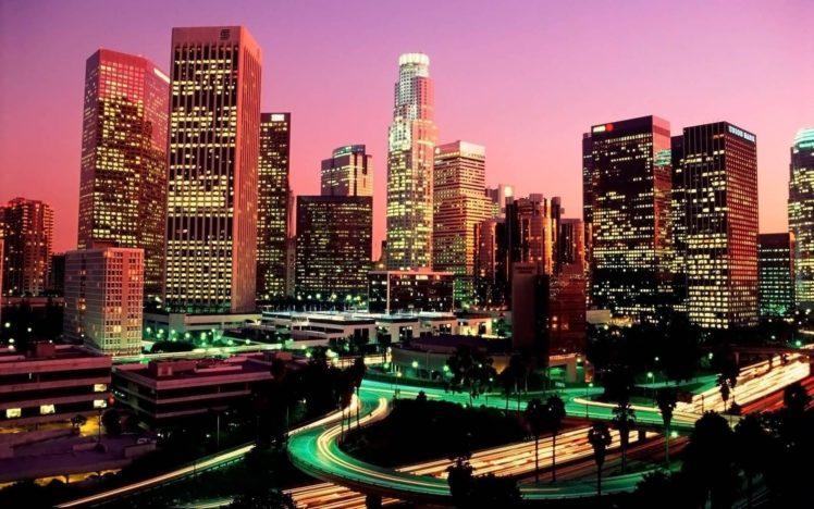 city, Cityscape, Night, Skyscraper, Building, Long exposure, Lights, Evening HD Wallpaper Desktop Background