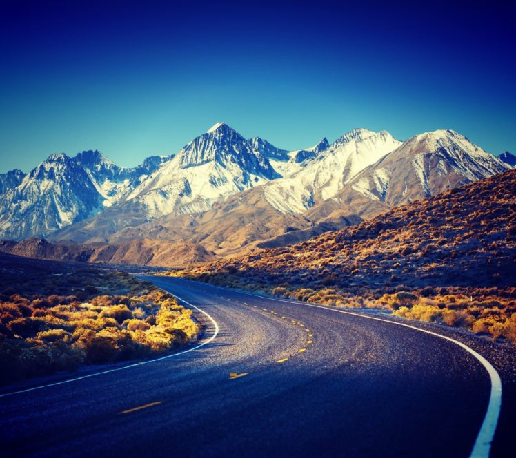 HDR, Filter, Sierra Nevada, Road, Mountain HD Wallpapers