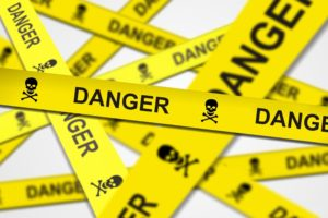 white background, Danger, Yellow, Stripes, Skull and bones, Depth of field, Police tape