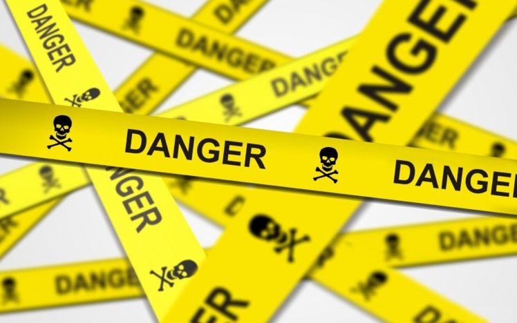 white background, Danger, Yellow, Stripes, Skull and bones, Depth of field, Police tape HD Wallpaper Desktop Background
