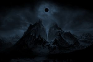 mountain, Eclipse, Night