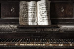 piano, Old, Paper, Abandoned