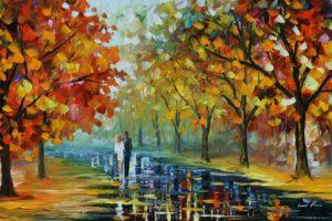 Leonid Afremov, Fall, Couple, Park, Trees, Path, Painting