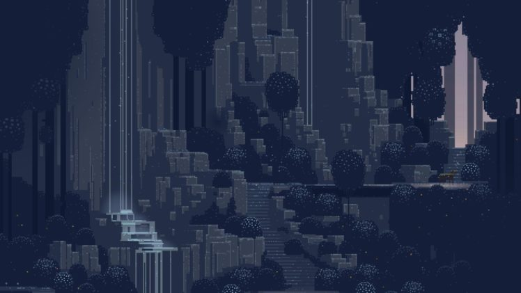 pixel art, Waterfall, Superbrothers: Sword and Sorcery EP HD Wallpaper Desktop Background