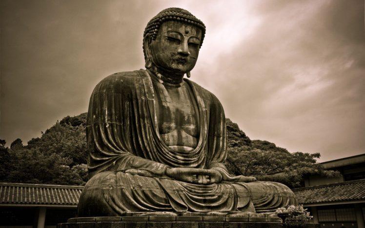 Buddha, Sepia, Statue, Architecture HD Wallpaper Desktop Background