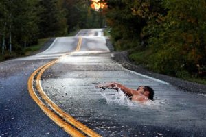 swimming, Photo manipulation, Road