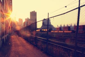 cityscape, Architecture, Vancouver, Canada, Train, British Columbia, Rail yard, Urban, Chain link, Fence, Lens flare