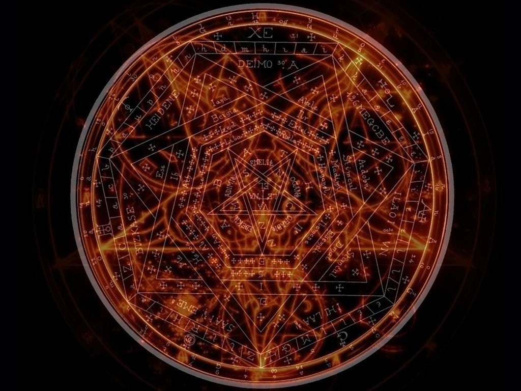 pentagram glowing orange 4k Ultra HD Wallpaper ... |Pentagram Wallpaper Uhd
