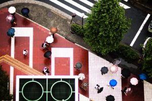 National Geographic, Umbrella, Aerial view, Road, People, Pavements, Trees, Japan