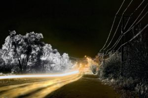 National Geographic, Power lines, Light trails, Road