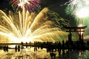 torii, Japan, Festivals, Fireworks, Crowds, National Geographic