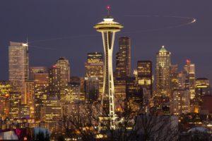 Seattle, Cityscape, Tower, Skyscraper, Lights