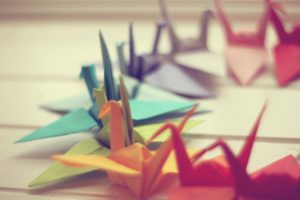 paper cranes, Colorful, Depth of field, Origami