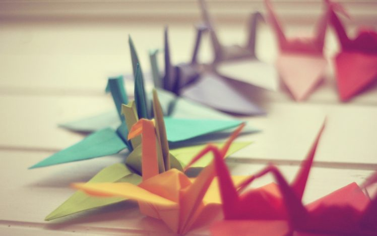 paper cranes, Colorful, Depth of field, Origami HD Wallpaper Desktop Background