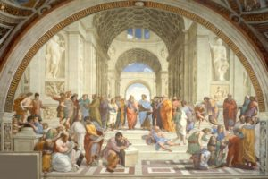 Raphael, Athens, Philosophy, Arch, Architecture, Painting, Students, Steps, Classic art, Socrates, Greek philosophers