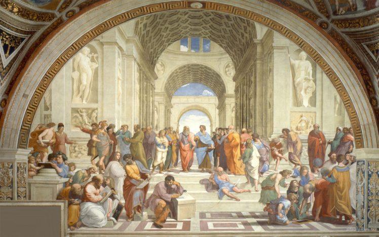 Raphael, Athens, Philosophy, Arch, Architecture, Painting, Students, Steps, Classic art, Socrates, Greek philosophers HD Wallpaper Desktop Background