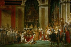 Jacques Louis David, The Coronation of Napoleon and Josephine, Painting, Royal, Curtains, Pillar, Classic art