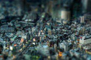 tilt shift, Cityscape, Japan