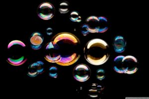 bubbles, Black background, Colorful