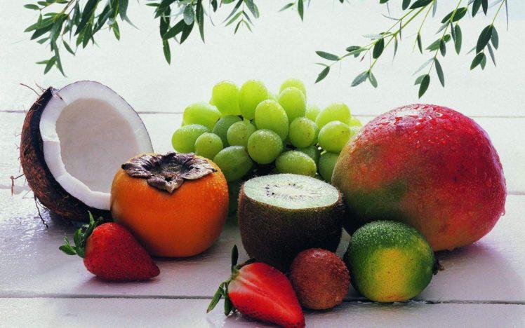 grapes, Coconuts, Food, Strawberries HD Wallpaper Desktop Background