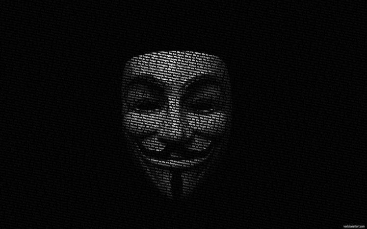 Typographic Portraits V For Vendetta Black Background HD Wallpaper Desktop