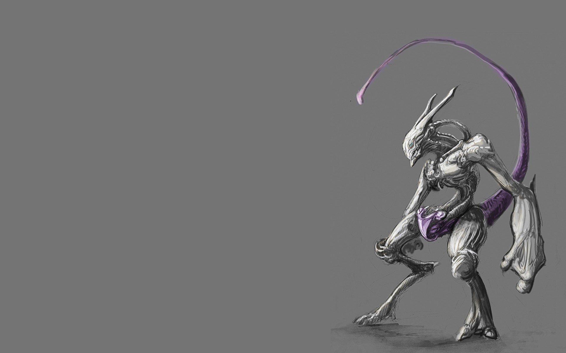 Pokemon, Mewtwo, Simple background Wallpaper