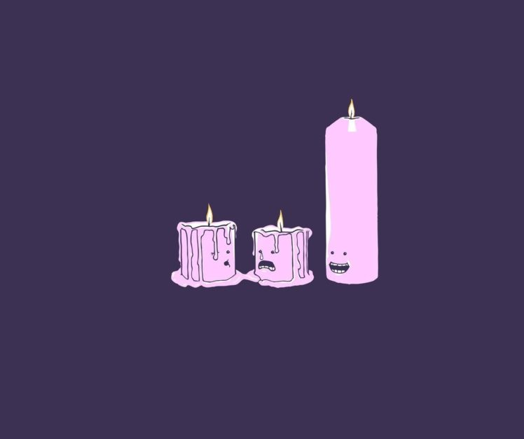 Candles, Melting, Purple Background, Minimalism HD