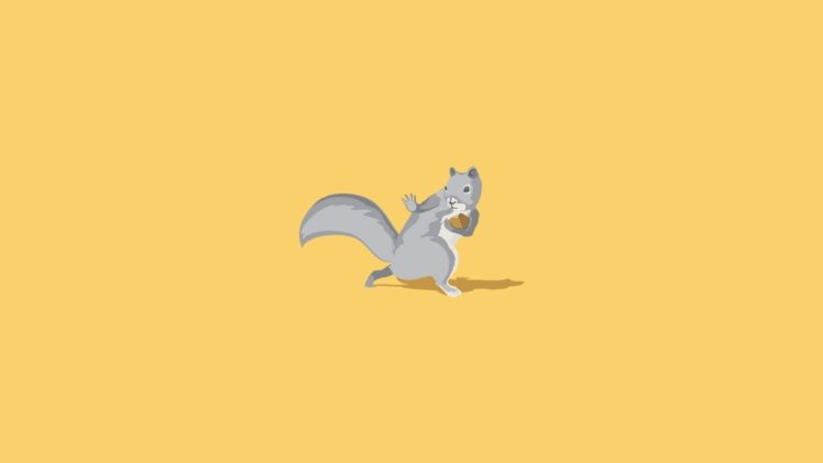 squirrel, Minimalism, Yellow background HD Wallpapers ...