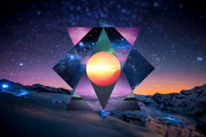 polyscape, Mountain, Night, Stars, Switzerland, Circle, Triangle, Snow