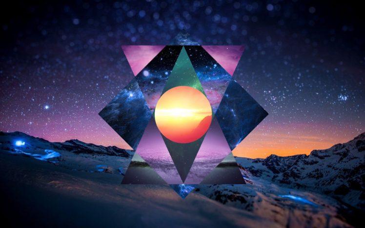 polyscape, Mountain, Night, Stars, Switzerland, Circle, Triangle, Snow HD Wallpaper Desktop Background