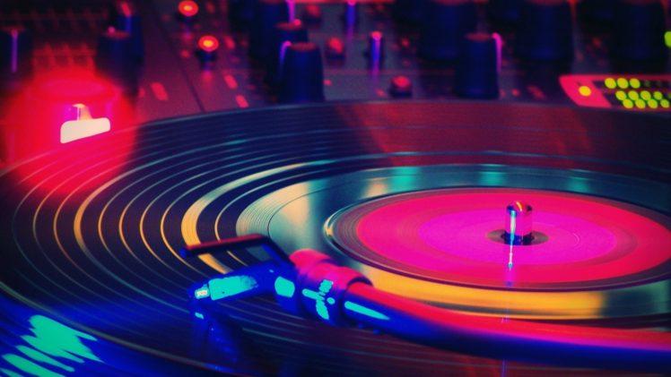 Record Players Vinyl Lights Music Colorful Macro Hd