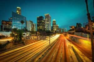 road, Long exposure, Light trails, Cityscape, California, Palm trees, Building
