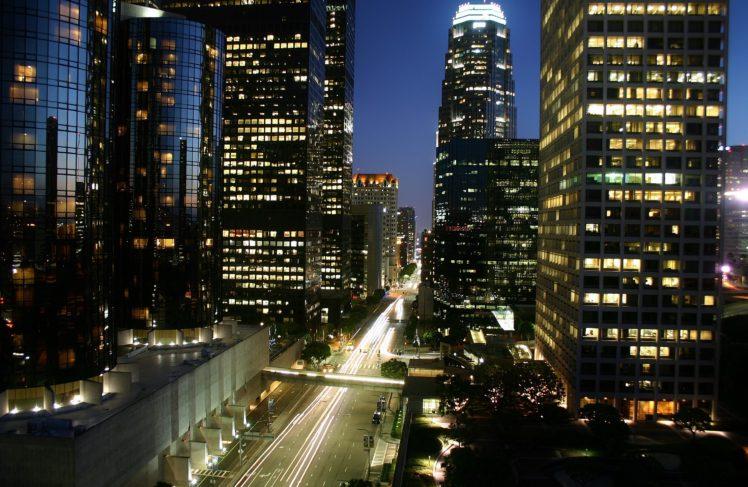 Los Angeles, Night, Light trails, Cityscape, Skyscraper HD Wallpaper Desktop Background
